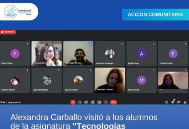 """Alexandra Carballo visitó a los alumnos de la asignatura """"Tecnologías disruptivas e innovación"""""""